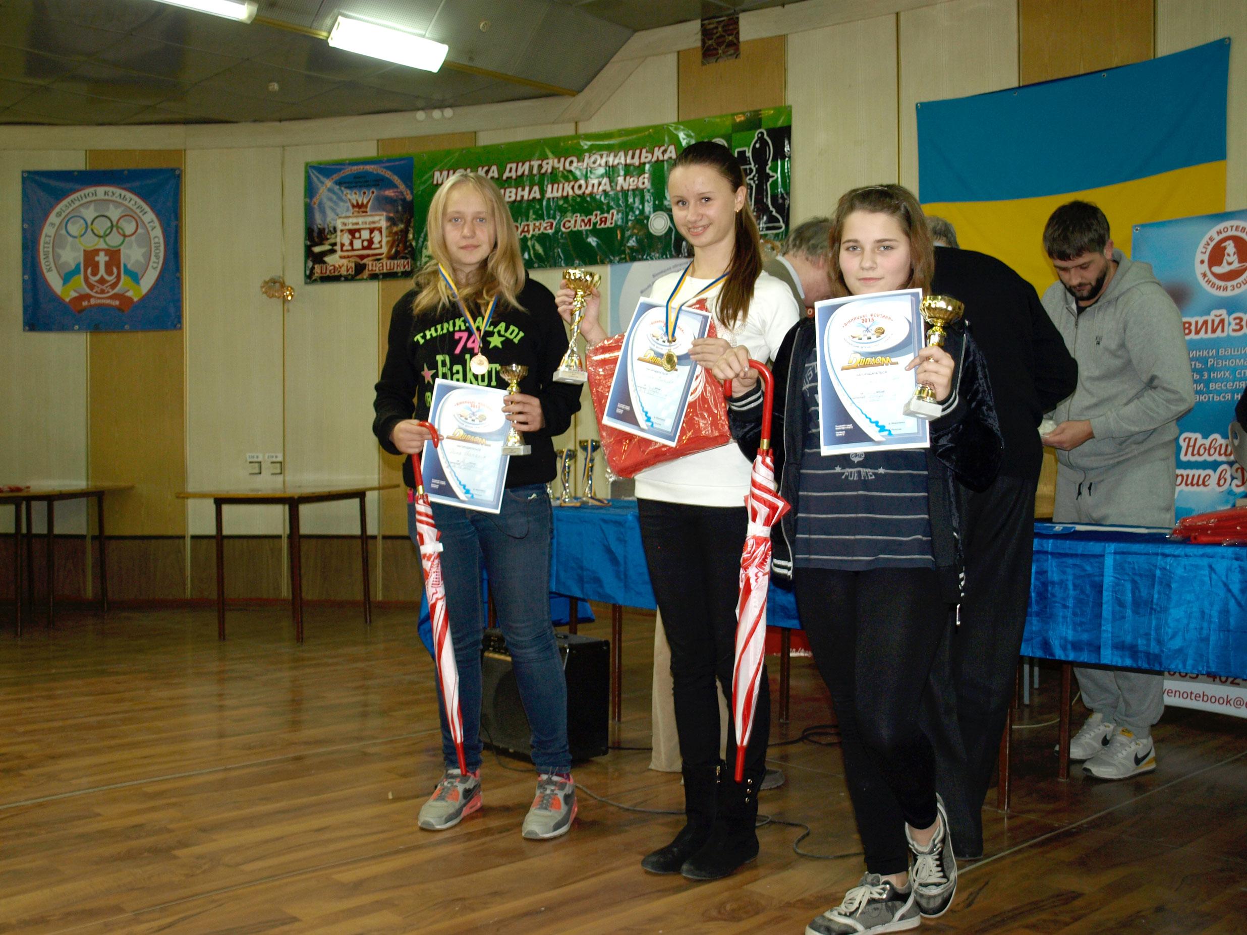 Призери дівчата до 16 років, турнір А.
